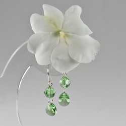 SALE! Peridot green earrings, Swarovski® Crystal Silver tiny drop earrings,
