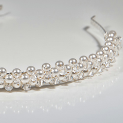 SALE! Swarovski® White Pearl & Crystal bridal head piece, wedding alice band,