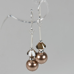 Bronze earrings, Swarovski® Crystal & Pearl Sterling Silver earrings