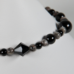 SALE! Black & grey bracelet, Gemstone & Swarovski® Crystal monochrome bracelet