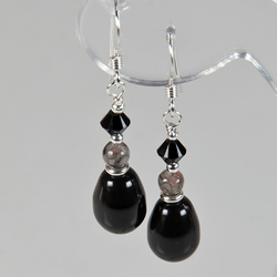 SALE! Black earrings, Swarovski® Pearl & gemstone Sterling Silver earrings