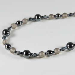 SALE! Haematite necklace, Haematite Snowflake Obsidian & frosted glass jewellery