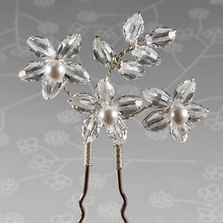 SALE! Swarovski® flower pin, Statement bridal hair pin, Crystal hair accessory