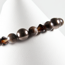 SALE! Brown bracelet, Chocolate Agate Swarovski® Brown pearls & Topaz crystals