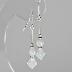 SALE! Grey Agate earrings, Grey Lace Agate & White Opal Swarovski® Crystals