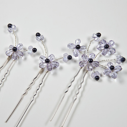SALE! 3 flower hair pins, Violet purple hair accessories, Prom, Bridesmaid