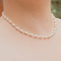 SALE! Swarovski® Pearl & Crystal necklace, Bridal necklace, Wedding or Prom