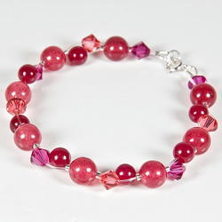 Pink-Red Bracelet, Gemstone & Swarovski® Sterling Silver jewellery