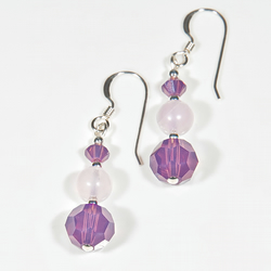 Purple-Pink earrings, Swarovski® Crystal Gemstones & Sterling Silver