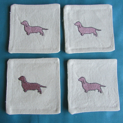 Set of 4 Dachshund fabric coasters