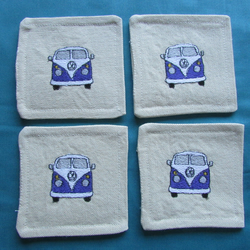 Set of 4 Purple VW Camper Van Coasters
