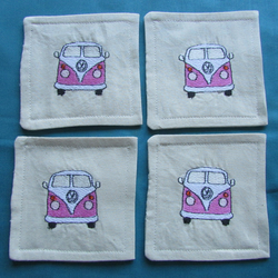 Set of 4 Pink VW Camper Van Coasters