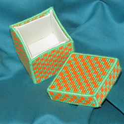 Green and Orange checked Trinket Box