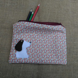 Custom Made Handmade Dog Pencil Case, Storage Case, Make Up Bag