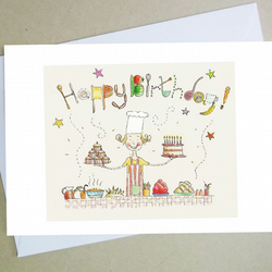 Birthday card, cook, chef, greetings card, food, celebration, baking