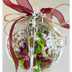 Shabby Handmade Christmas Decoration Ornament, 3D Red