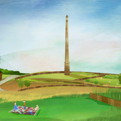 Emley Moor Mast,A4 illustrated prints,yorkshire art,yorkshire prints,countryside
