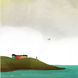 Kite Flying, Scotland, A4 Illustrated Print,seaside art,wall art,sea,childrens