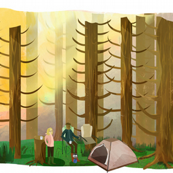 Woodland,Camping,A4 Illustrated Print,tents,outdoors,wall art,adventures,couple