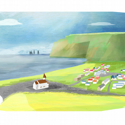 landscape,travel,iceland,village,sea,houses,mountains,A4 illustrated print,art
