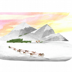 Husky's,Illustration,A4 print,festive,dog's,snow,mountains,sledging,gifts,