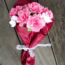 Paper Flower Bouquet Of Pink Roses For Motheru0027s Day Or Wedding