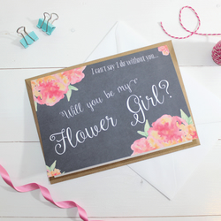 Will you be my Flower Girl? Card - Wedding - Watercolour, Floral & Chalkboard