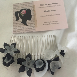 black and white flower haircomb