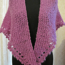 Hand knitted wrap in purple kid mohair
