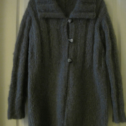 Hand knitted mohair cardigan in slate grey