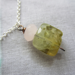 Prehnite and Rose Quartz Oxidised Copper Modern Sterling Silver Necklace Pendant