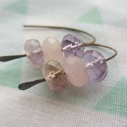 Ametrine, Amethyst, Rose Quartz Copper Wire Bead Earrings, modern,