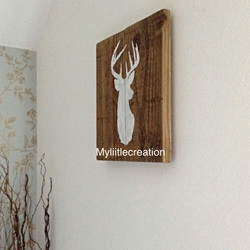 Reclaimed wooden stag picture