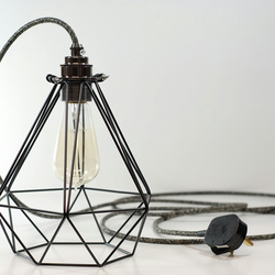 Premium Black Vintage Industrial Diamond Pendant Wire Cage Desk Side Lamp Light