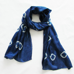 Deep luxurious indigo silk scarf INDI 085