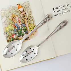 Personalised New Baby Name Spoons, Hand Stamped Vintage New Born Keepsake Gift
