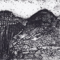 Derbyshire Peaks by Barbara Smith - collograph collagraph