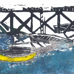 Boats by Barbara Smith - lino linocut print relief