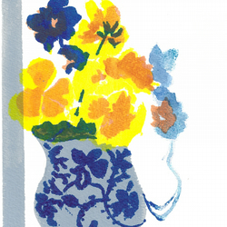 Yellow Pansies by Barbara Smith - screen print serigraph