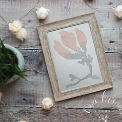 Magnolia floral silhouette watercolour painting