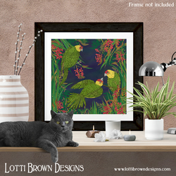 Tropical Parakeet Art Print, Tropical Bird Print, Bird Art, Giclee Print 12 x 12