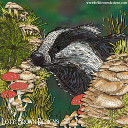 Badger Art Print, Wildlife Art, Nature Print, Giclee Square Print 12 x 12""