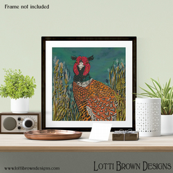 "Pheasant Art Print, Countryside Art, Wildlife Giclee Square Print 12 x 12"" inch"