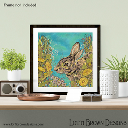 "Rabbit Art Print, Wildlife Art, Nature Giclee Square Print 12 x 12"" inch"