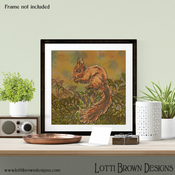 "Squirrel Art Print, Wildlife Art Print, Giclee Square Print 12 x 12"" inch"