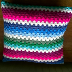 RAINBOW COLOURED CROCHET CUSHION
