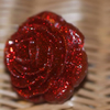 Huge resin rose ring - red