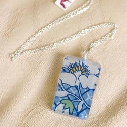 Quaint kitchen blue fabric necklace