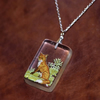 Fox woodland resin necklace