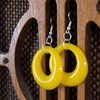 Small bright yellow resin hoop earrings